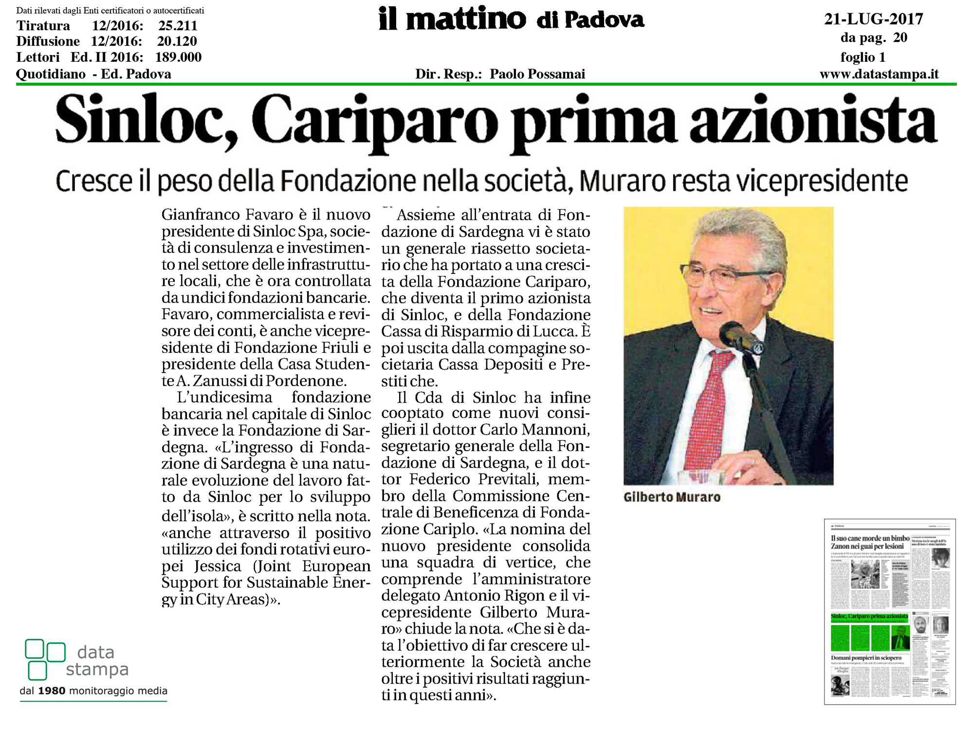 Mattino Cariparo prima azionista